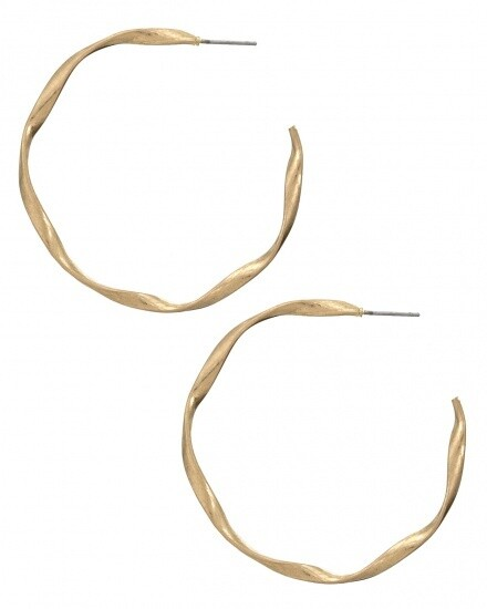 Twisted Gold Open Hoop Earrings