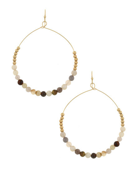 Gold Hoop Earrings with Earth Tone Beading