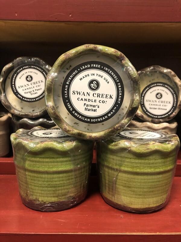 Swan Creek Farmer's Market Ruffled Pottery Candle