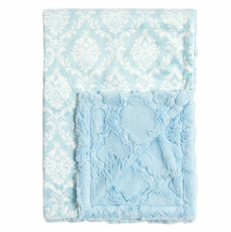 Blanket Love Blue Damask Baby Blanket