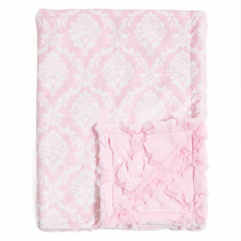 Blanket Love Pink Damask Baby Blanket