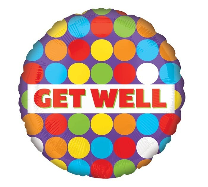 Get Well Colorful Dots Balloon