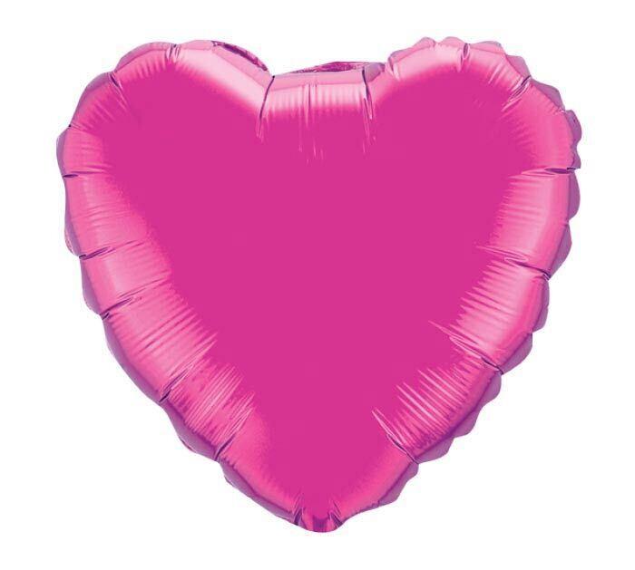 Solid Hot Pink Magenta Heart Balloon