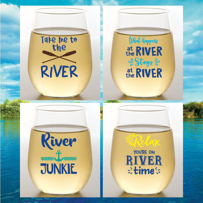 River Time Shatterproof Wine Glasses