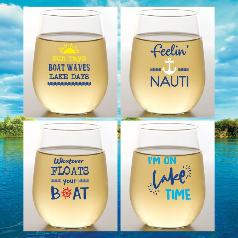 On Lake Time Shatterproof Wine Glasses