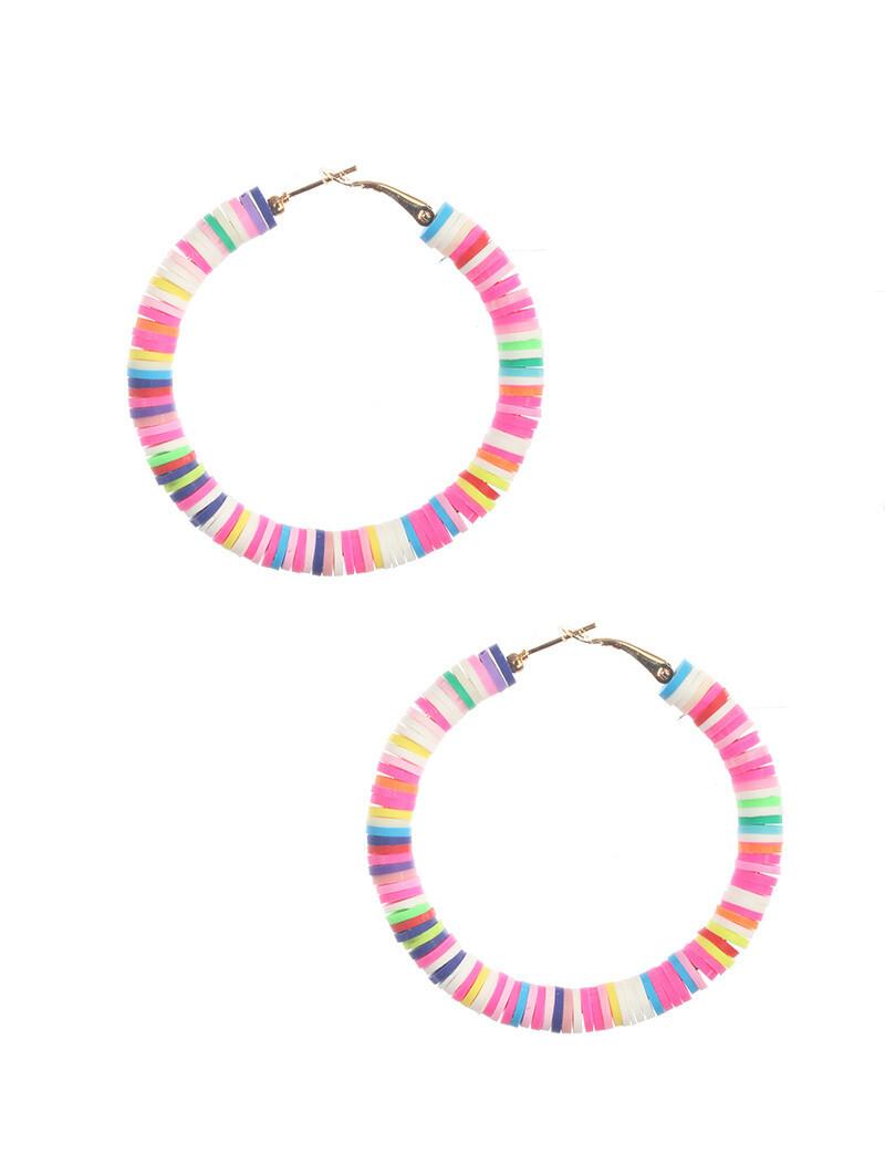 Heishi Disc Earrings Multi Pinks