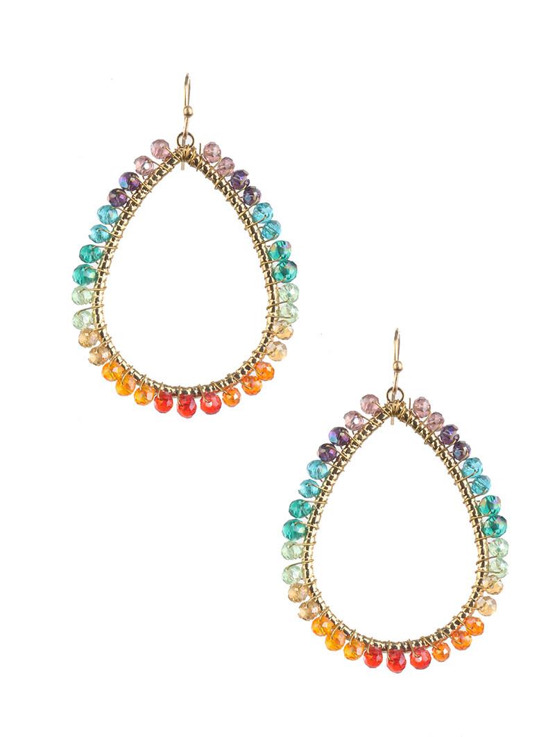 Rainbow Oval Hoop Earrings