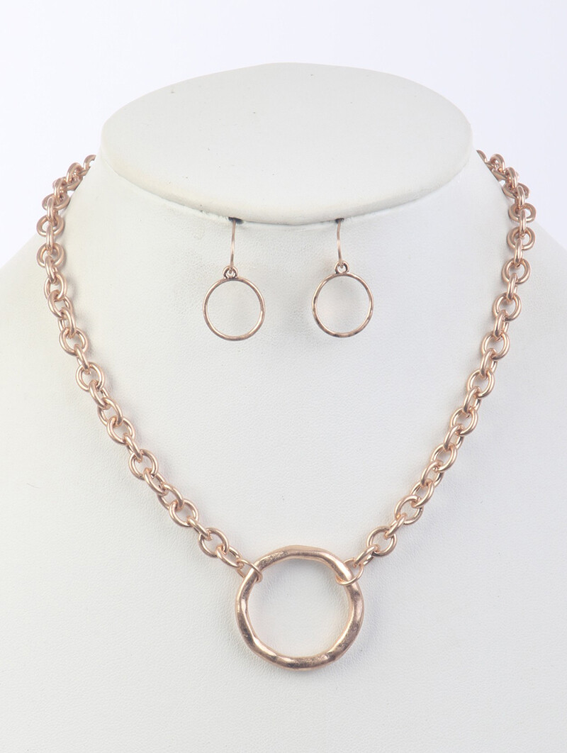 Gold Hoop Chain Necklace & Earring Set