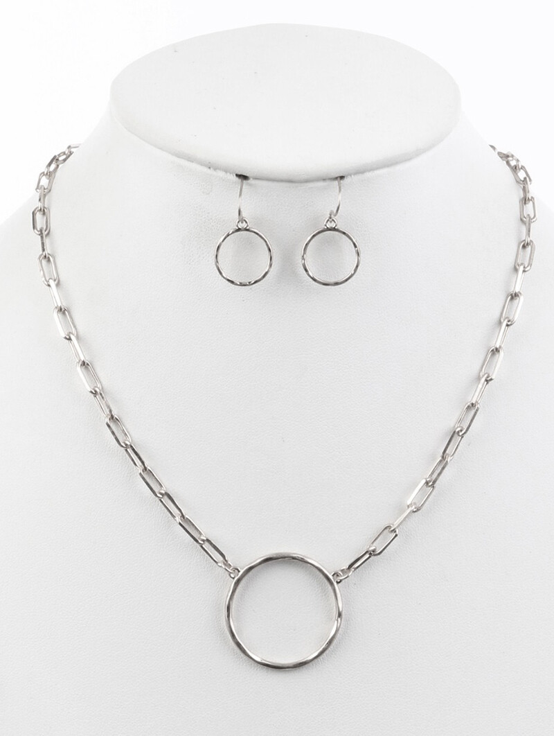 """Silver Hoop Pendant on Linked """"Paperclip"""" Chain & Earring Set"""