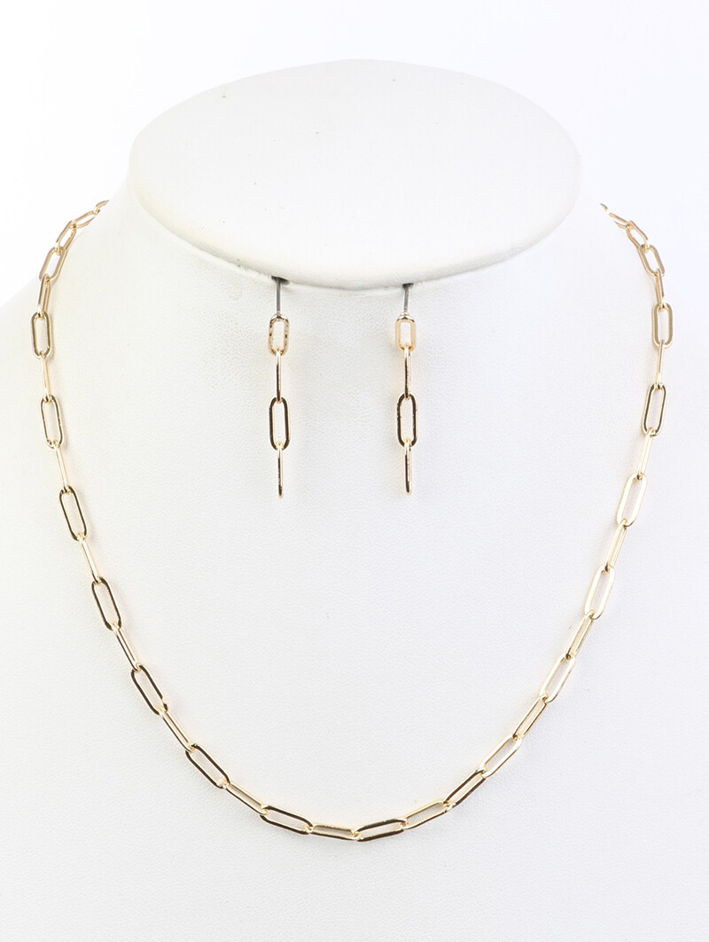 """Gold Linked """"Paperclip"""" Chain Necklace & Earring Set"""