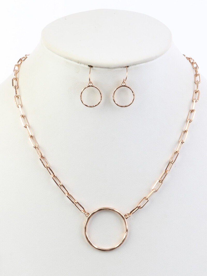 """Gold Hoop Pendant on Linked """"Paperclip"""" Chain & Earring Set"""
