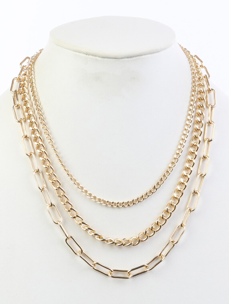 Triple Strand Gold Layered Chain Necklace