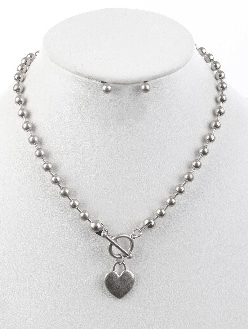 Heart Toggle Silver Necklace