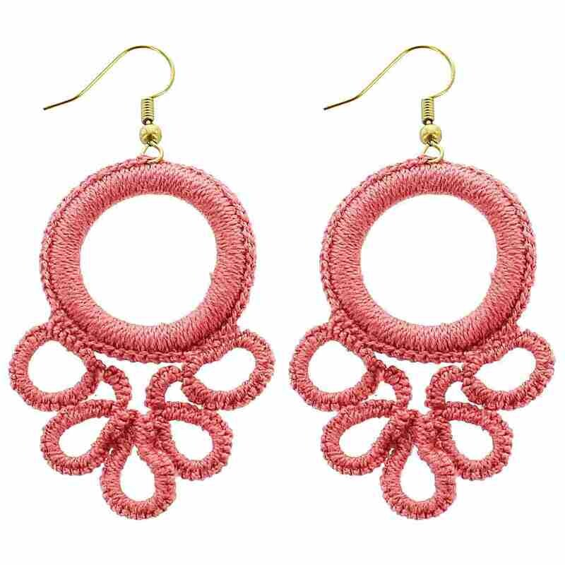 Pink Circle Wrapped Earrings
