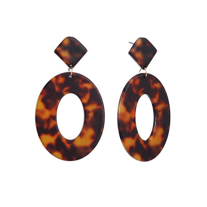Leopard Print Drop Hoop Earrings