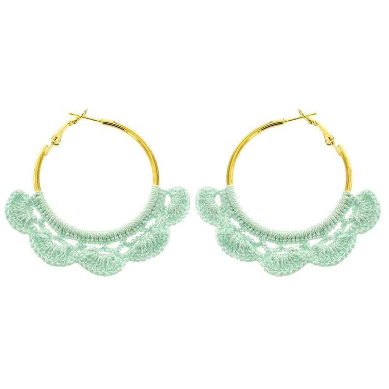 Crochet Hoop Earrings in Mint Blue