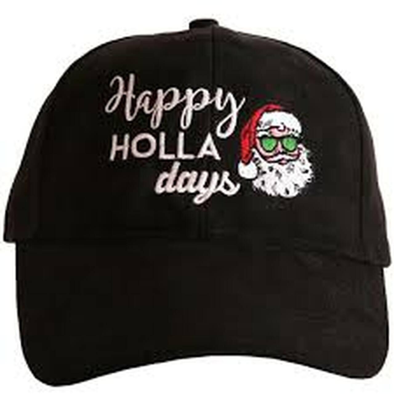 Happy Holla Days Black Suede Cap