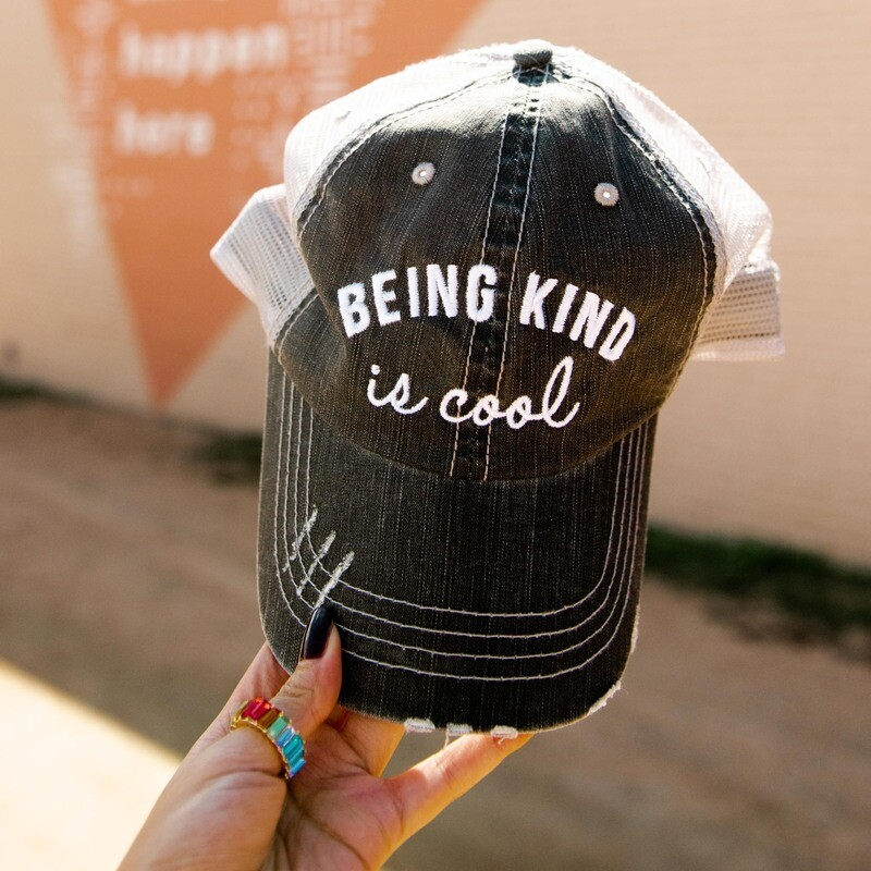 Being Kind Is Cool Distressed Trucker Cap