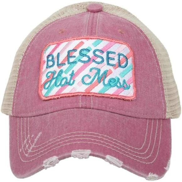 Blessed Hot Mess Distressed Trucker Cap