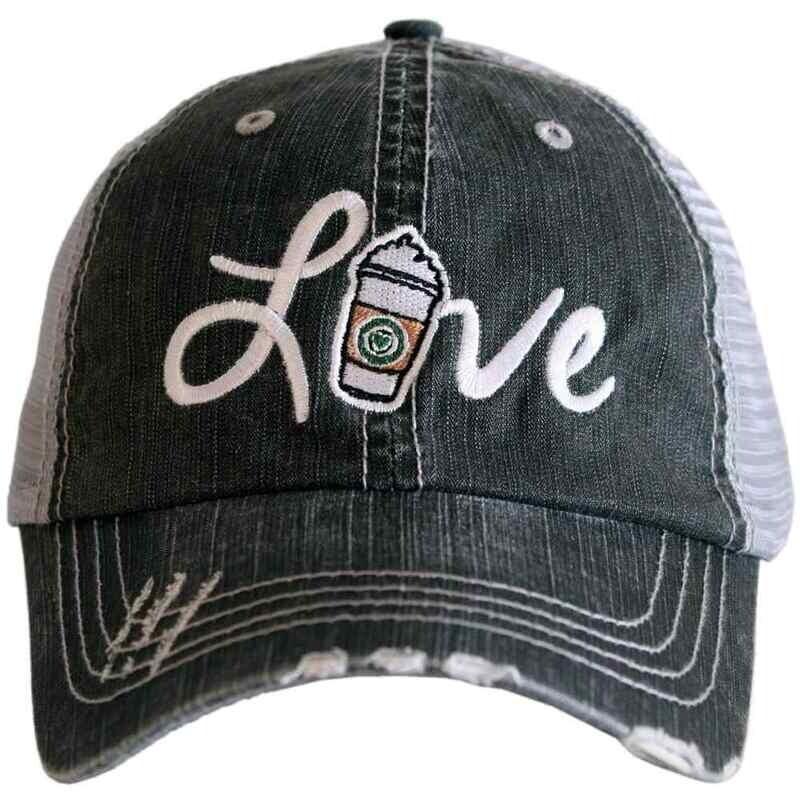 Love Coffee Distressed Trucker Cap