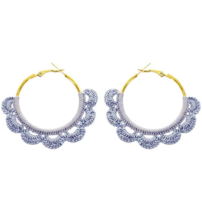 Crochet Hoop Earrings in Powder Blue