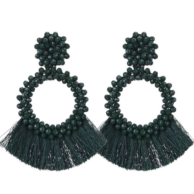 Large Beaded Tassel Earrings
