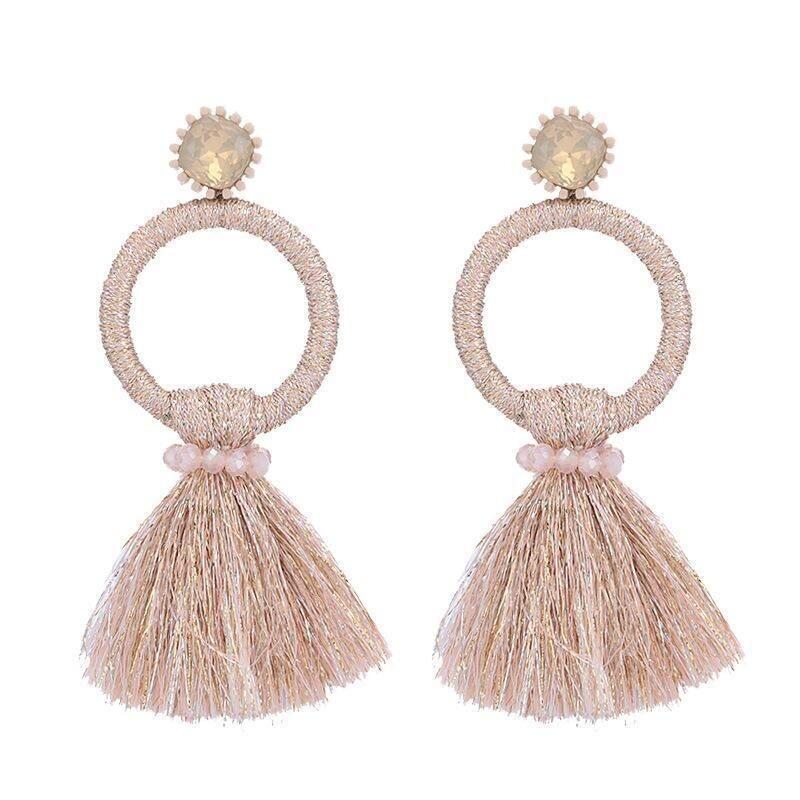 Pink Large Circle Tassel Earrings