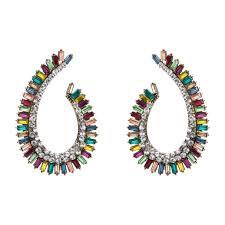 Multi-Colored Crystal Teardrop Hoop Earrings