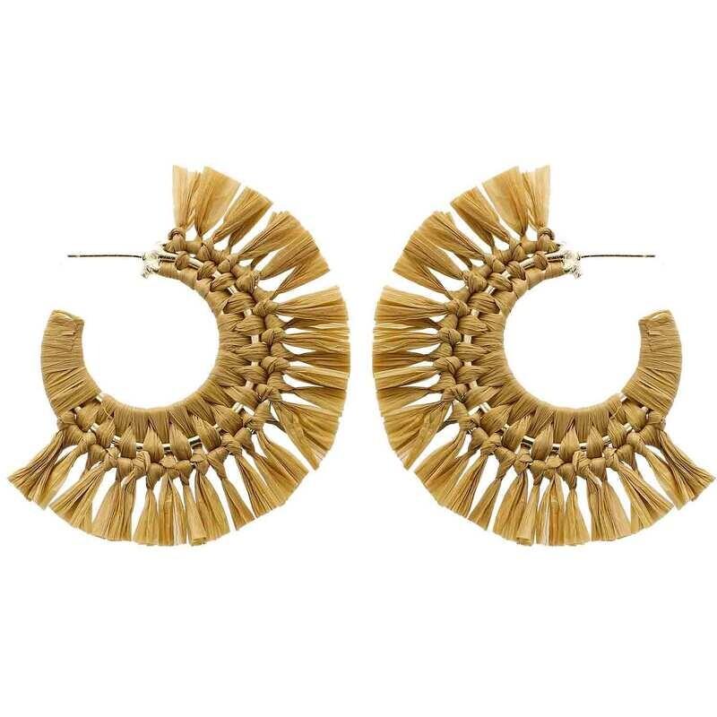 Beige Raffia Hoop Earrings