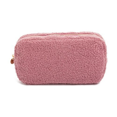 Faux Sherpa Make-up Bag in Purple