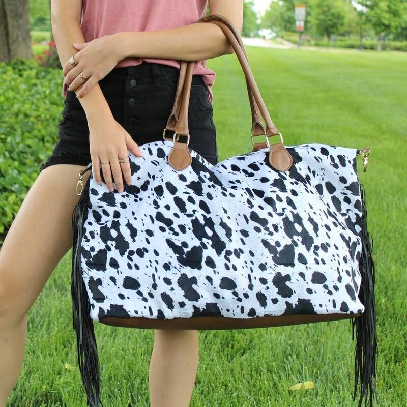 Cow Print Weekender Bag with Black Fringe
