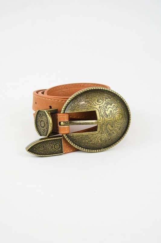 Oval Embossed Vintage Style Belt