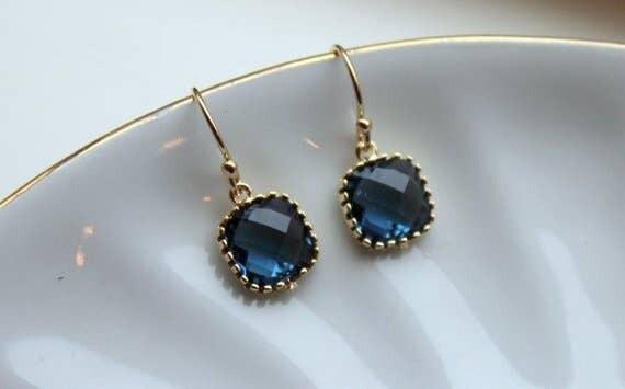 Laalee Dainty Earrings Dark Blue