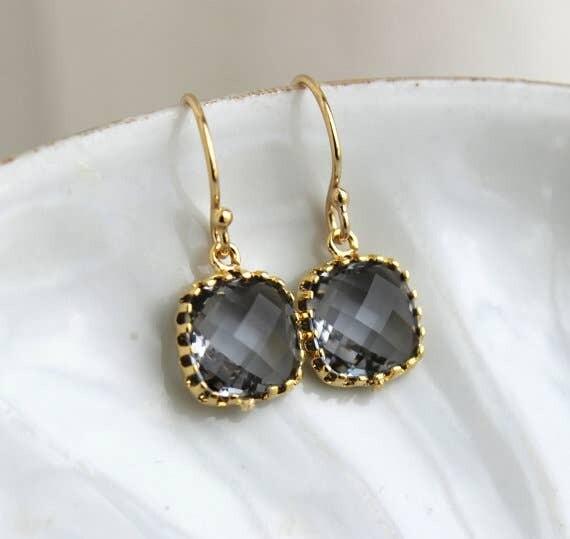 Laalee Dainty Earrings Charcoal Grey