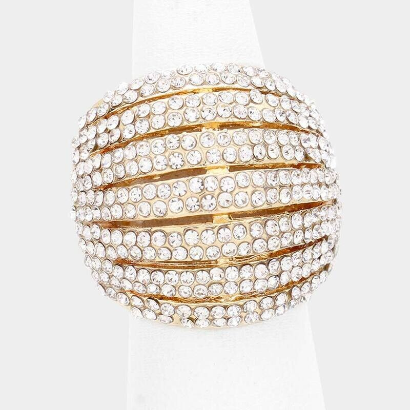 Crystal Rhinestone Pave Dome Stretch Ring