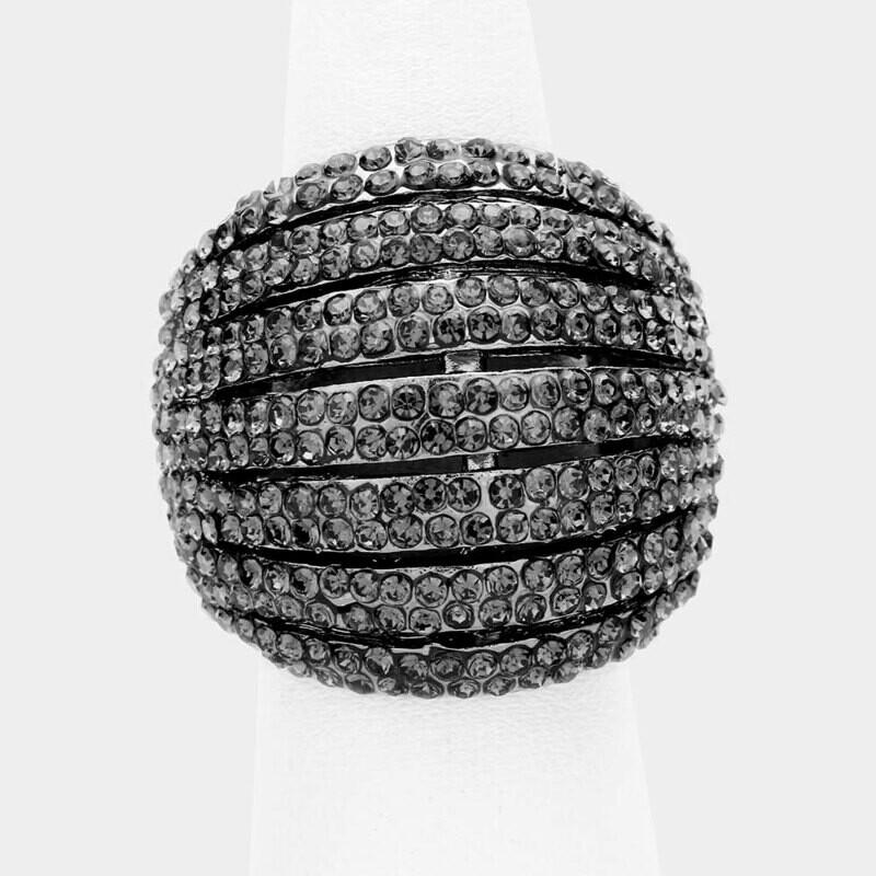 Crystal Rhinestone Pave Dome Stretch Ring Hematite