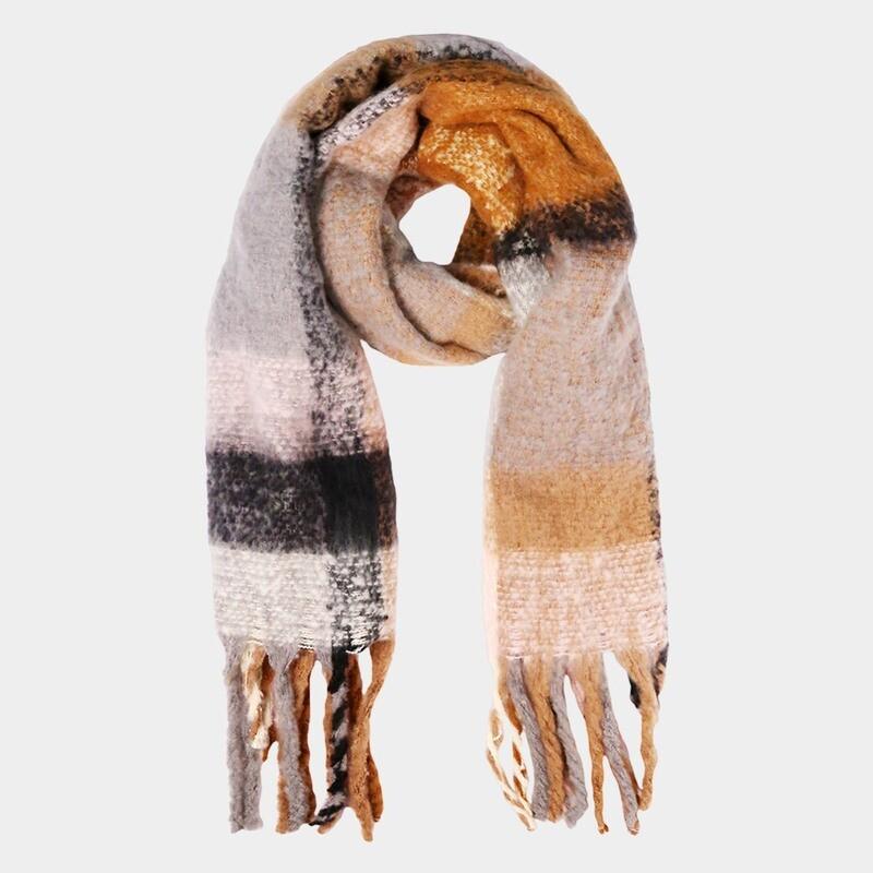 Color Block Thick Tassel Cozy Scarf Grey/Pink/Camel