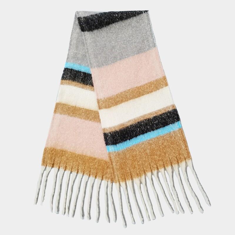 Color Block Thin Tassel Cozy Scarf Black/Pink/Camel