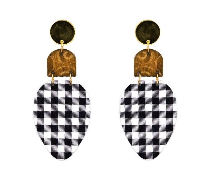 Black/White Buffalo Plaid Holiday Bulb Earring