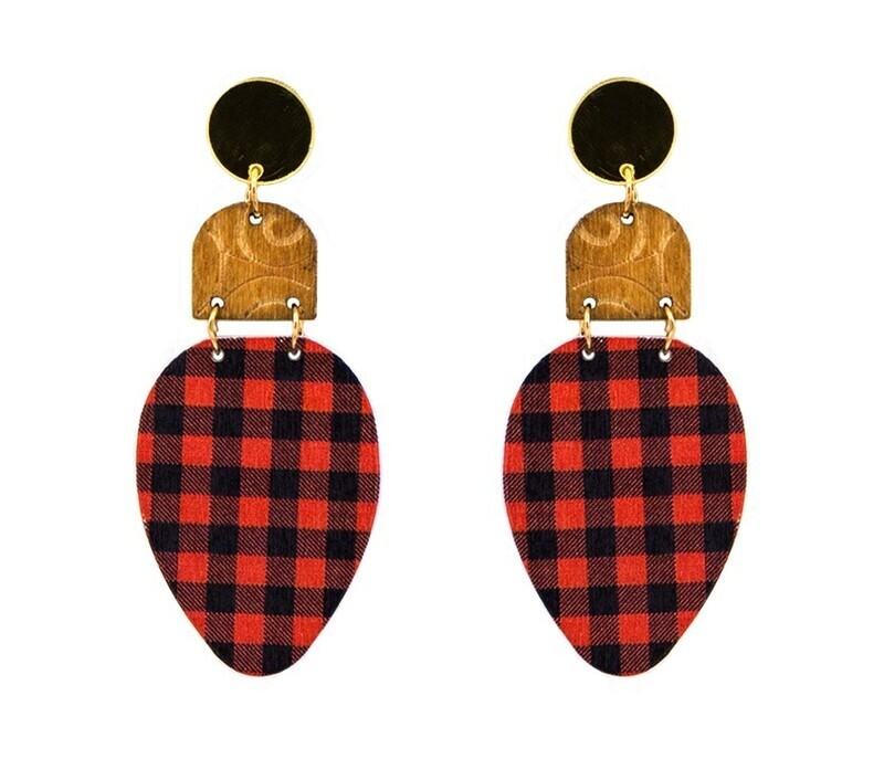 Red/Black Buffalo Plaid Holiday Bulb Earring