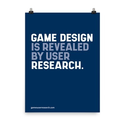 Game Design Is Revealed By User Research - A2 Poster