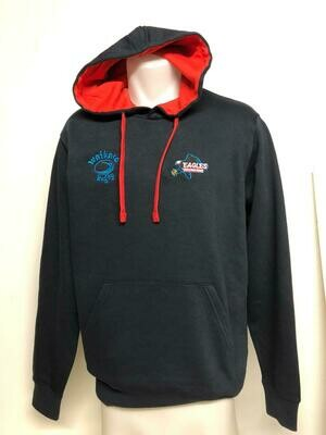 Hoodie - Navy and inside red