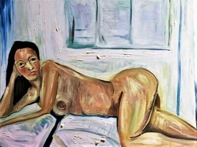 Claudine lying Nude