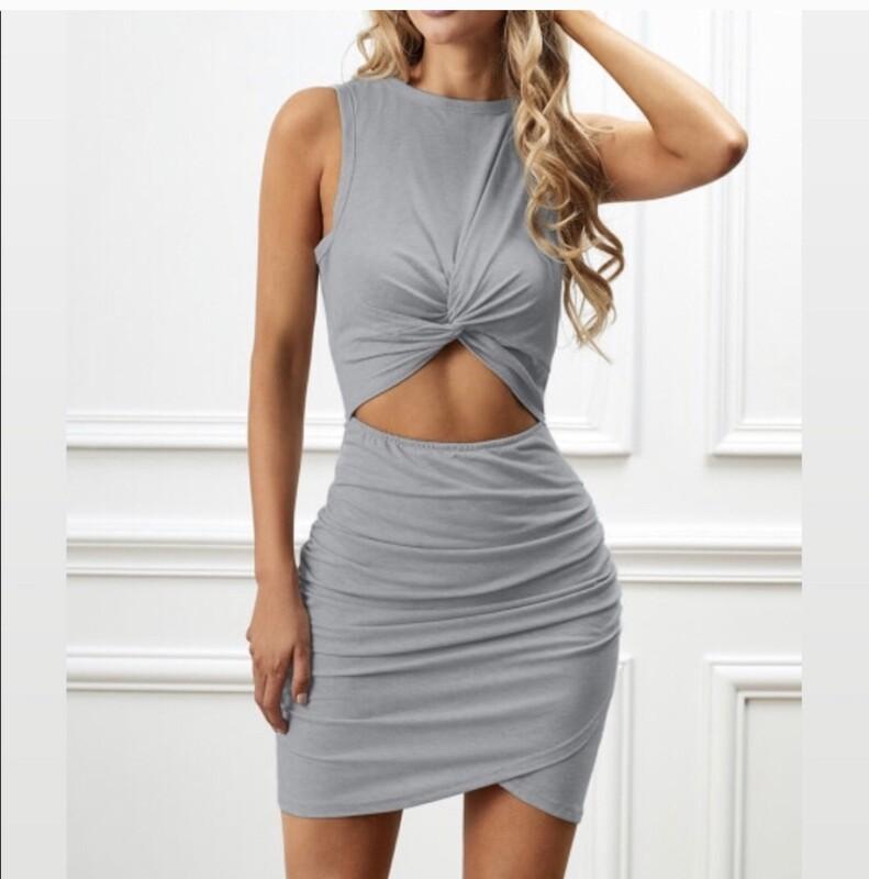 Grey Twist Knot Dress