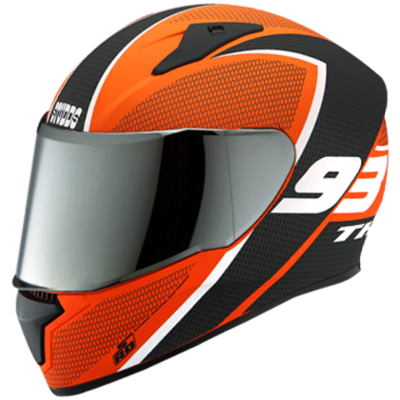 THUNDER D3 MATT ORANGE DECOR WITH MIRROR VISOR