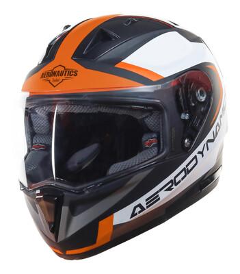 STEELBIRD SA-1 Aerodynamics Mat Black With Orange