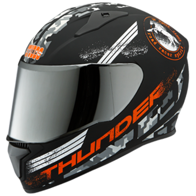 THUNDER D2 MATT BLACK N10 DECOR WITH MIRROR VISOR