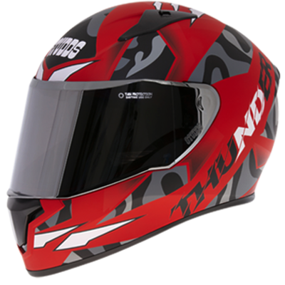 THUNDER D7 RED N9 DECOR WITH MIRROR VISOR