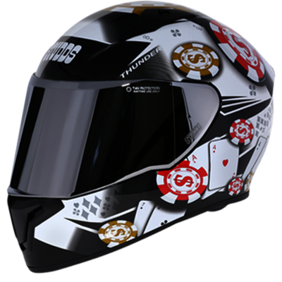 THUNDER D6 BLACK/WHITE DECOR WITH MIRROR VISOR