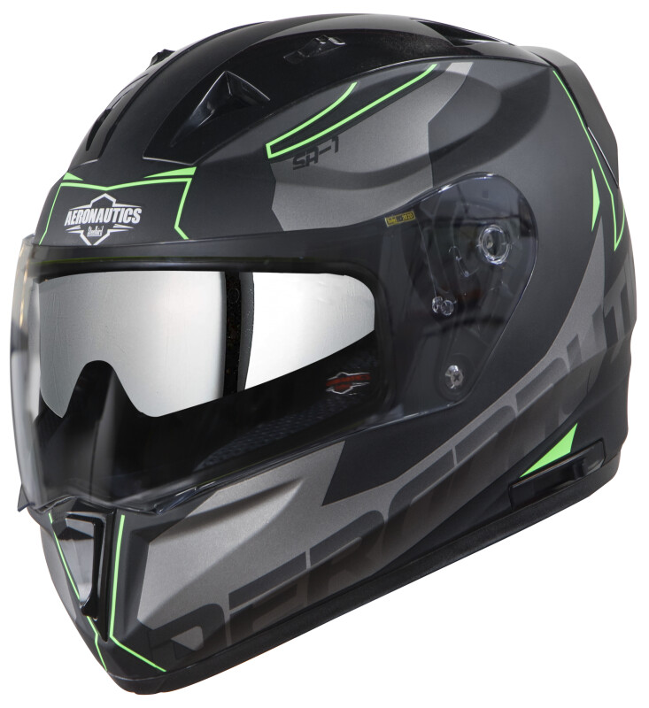 SA-1 RTW MAT BLACK WITH GREEN (WITH CHROME SILVER SUN SHIELD)
